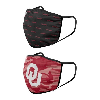 NCAA Oklahoma Sooners Youth Clutch Printed Face Covering 2pk