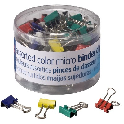 Officemate Binder Clips, Micro, 5/32 Capacity, Assorted Colors, pk of 100