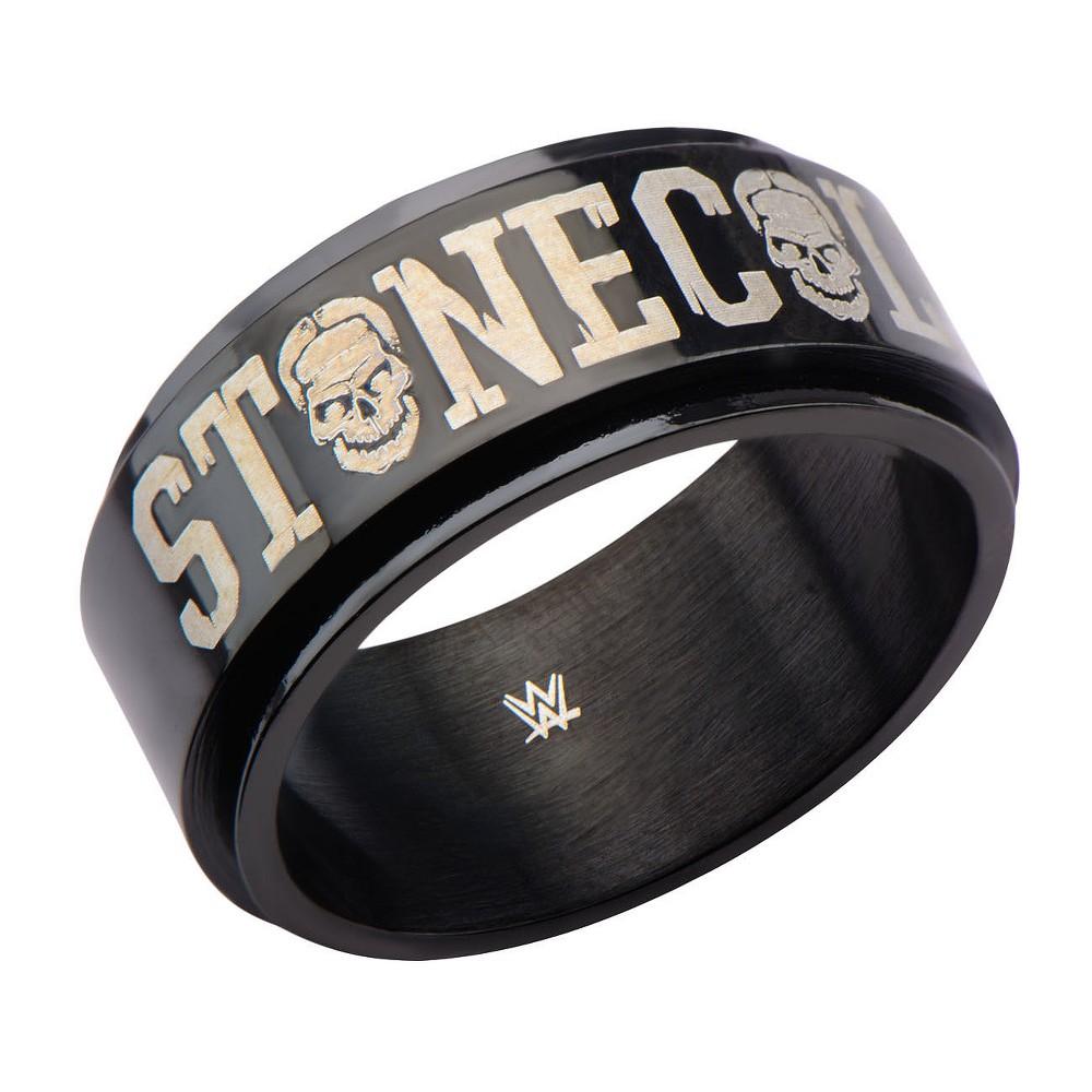 Men's Wwe Stone Cold Stainless Steel Black IP Spinner Ring - (11)