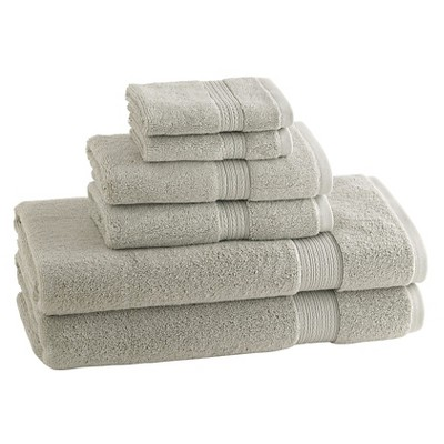 6pc Signature Solid Bath Towel Set Dolphin Gray - Cassadecor