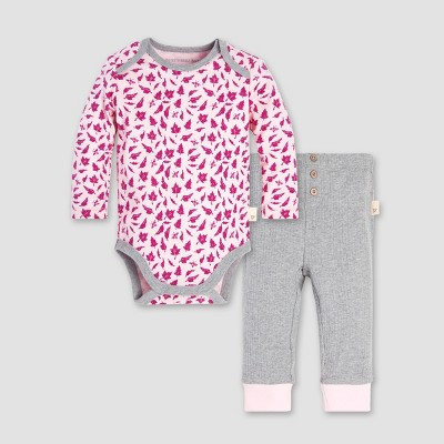 Burt's Bees Baby® Baby Girls' Sketched Leaves Bodysuit and Pant Set - Azalea 3-6M