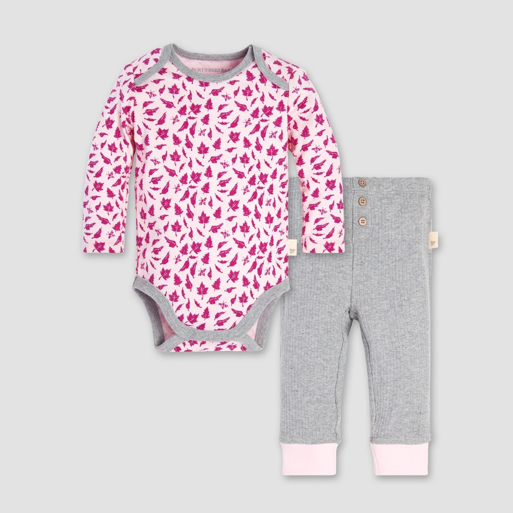 Burt's Bees Baby Baby Girls' Sketched Leaves Bodysuit and Pant Set - Azalea 6-9M, Pink