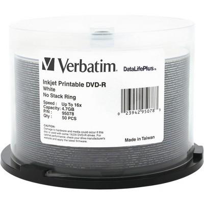 Verbatim DVD-R 4.7GB 16X DataLifePlus White Inkjet Printable - 50pk Spindle - 4.7GB - 50pk Spindle