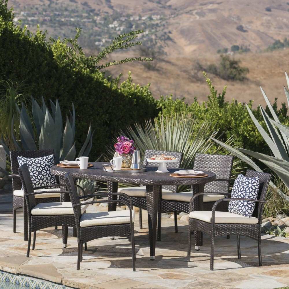 Carter 7pc Wicker Patio Dining Set - Brown/Creme- Christopher Knight Home
