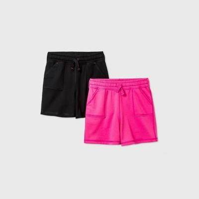 Girls' 2pk Adaptive Knit Shorts - Cat & Jack™ Black/Pink