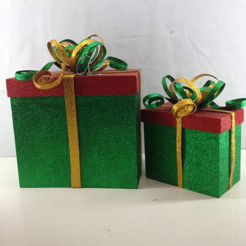"Sterling Set of 2 Green and Red Glittered Gift Box Christmas Decor 14"" - image 1 of 1"