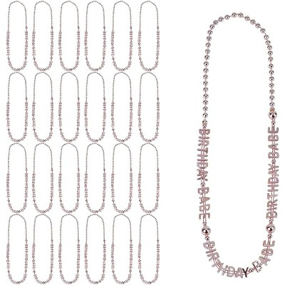 Sparkle and Bash 24-Pack Rose Gold Birthday Babe Plastic Bead Necklaces 32 in Party Favors Supplies