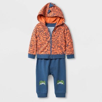Baby Boys' 3pc Cardigan Dino Top & Bottom Set - Cat & Jack™ Blue/Orange 0-3M
