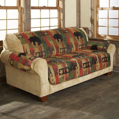 Lakeside Dakota Lodge Diamond Quilted Sofa Cover with Woodland and Animal Accents