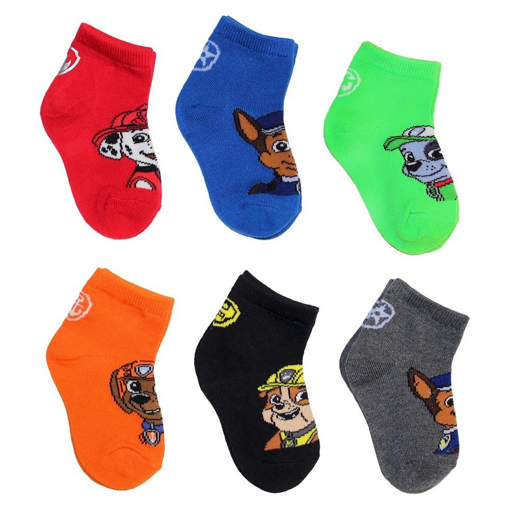 Kids' Paw Patrol 6pk Casual Socks - Red S/M, Boy's