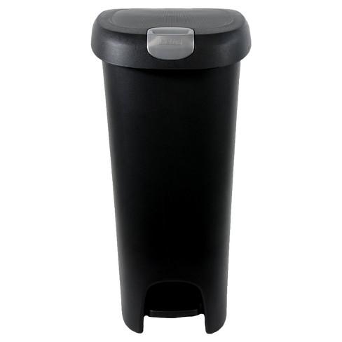 Hefty 123 Gallon Slim Step Black Trash Can With Locking Lid Target