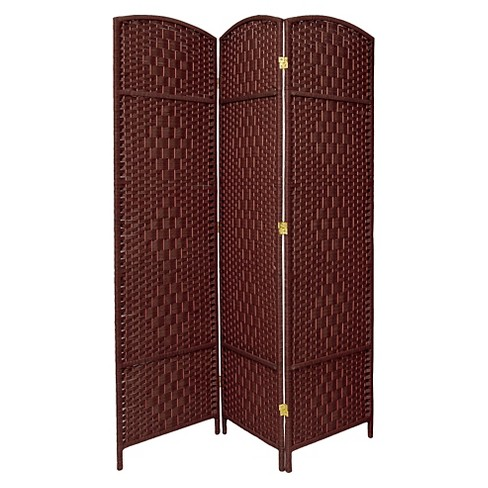 7 ft. Tall Diamond Weave Room Divider - Dark Red (3 Panels) - image 1 of 1