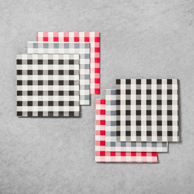 Gingham Food Paper Liner 24ct - Black/Blue/Red - Hearth & Hand™ with Magnolia