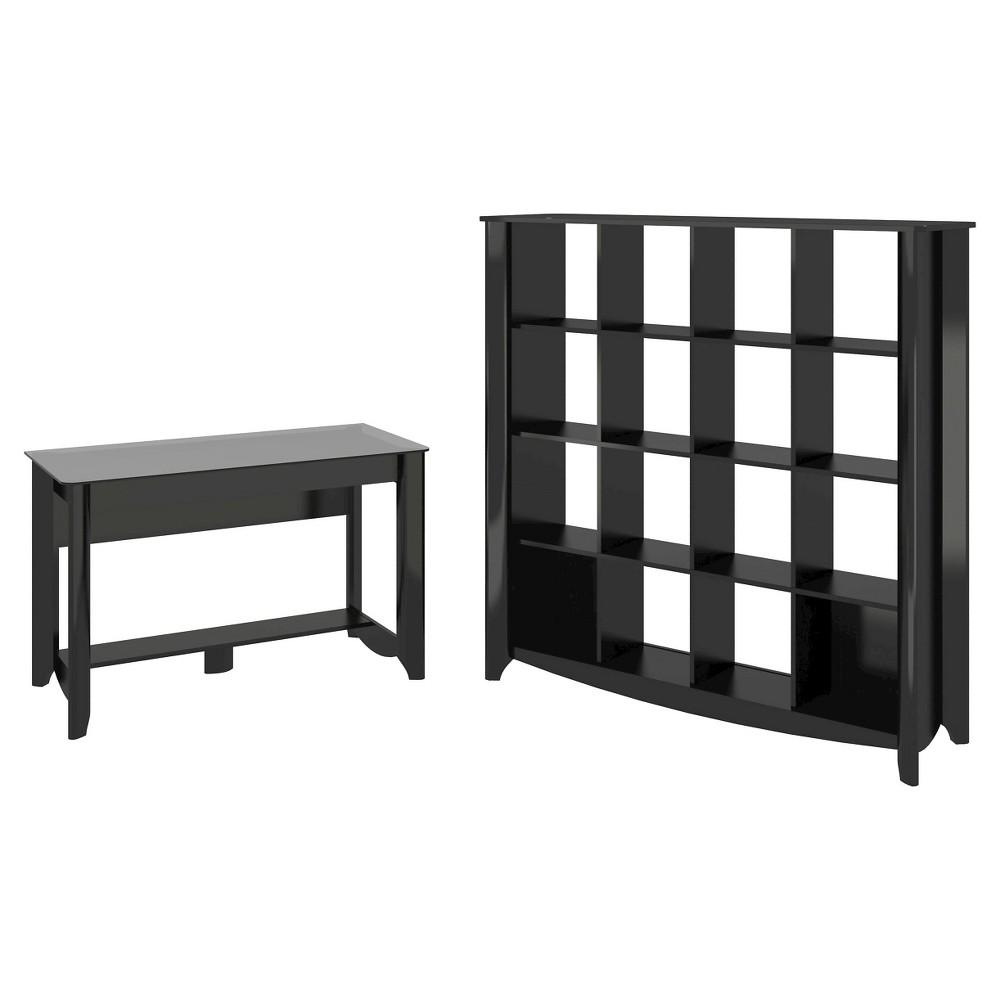 Aero Desk with 16 Cube Bookcase/Room Divider - Black - Bush Furniture