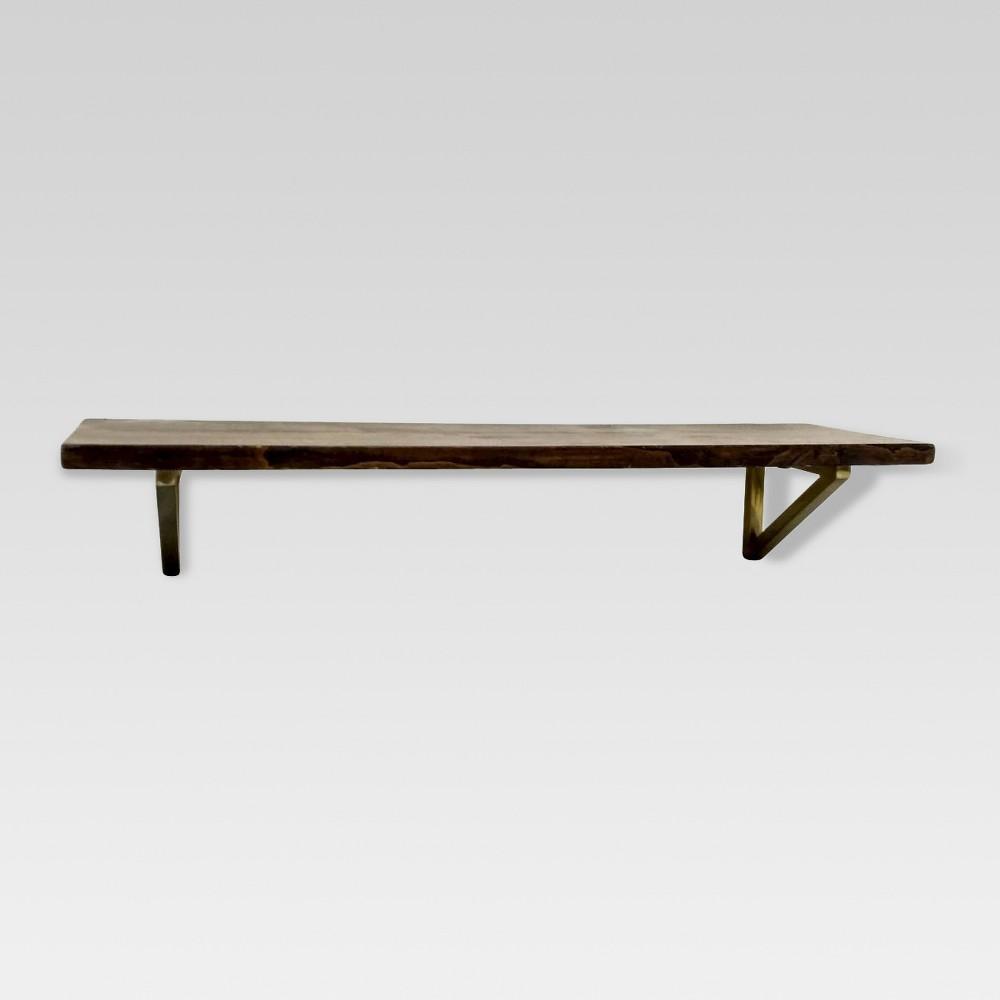 24 34 X 7 34 Wall Shelf With Brass Brackets Brown Gold Threshold 8482