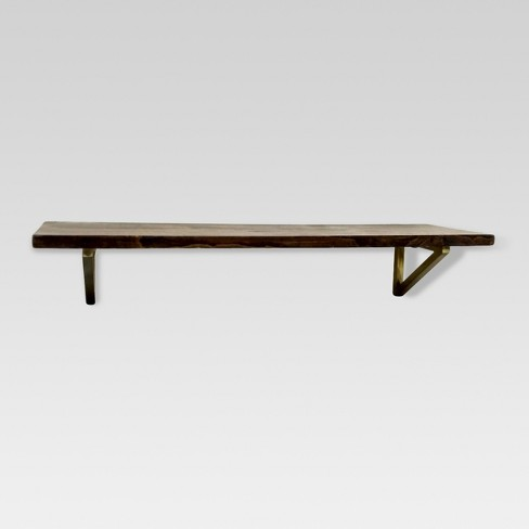 Wall Shelf With Polished Br Brackets Medium Threshold