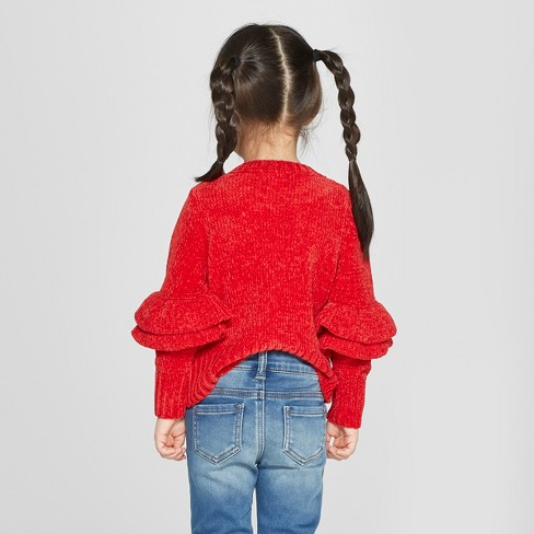 d70d3d748 Toddler Girls  Chenille Ruffle Sleeve Pullover...   Target
