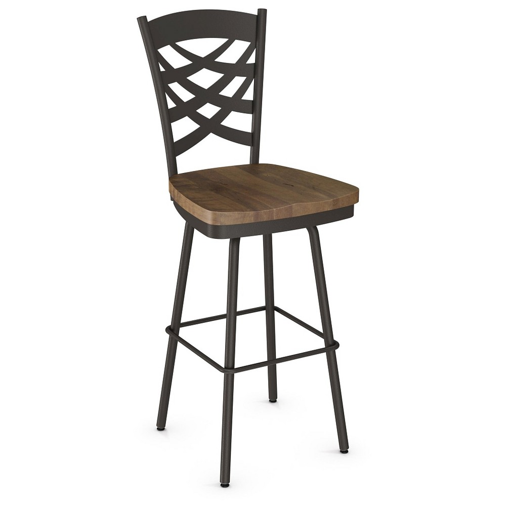 Weaver Swivel 26.4 Counter Stool - Light Gray/Medium Brown - Amisco