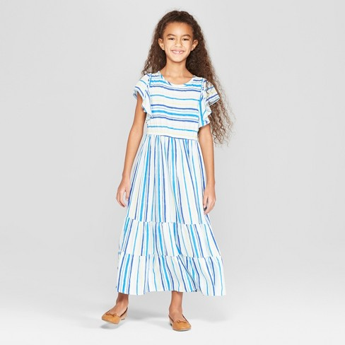Girls' Woven Maxi Dress - Cat & Jack™ Blue - image 1 of 3