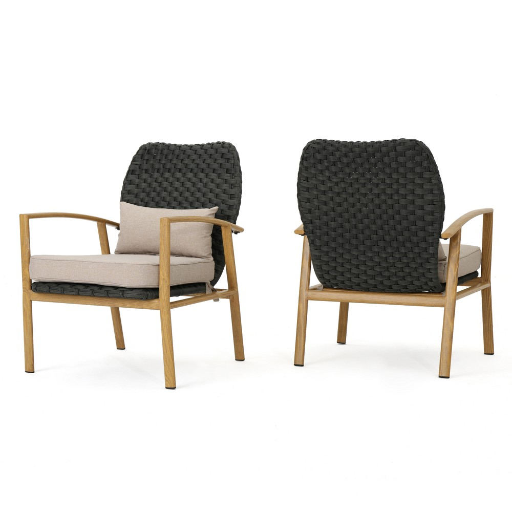 San Luis Set of 2 Wicker Club Chair - Gray/Beige/Light Brown - Christopher Knight Home, Gray/Light Brown
