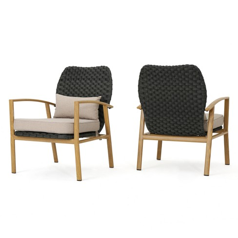 San Luis Set of 2 Wicker Club Chair - Gray/Beige/Light Brown - Christopher Knight Home - image 1 of 4