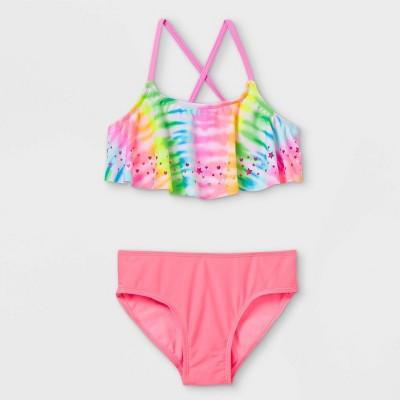 Girls' Laser Cut Flounce Tie-Dye Bikini Set - Cat & Jack™