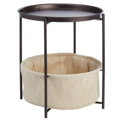 mDesign Steel Single Drawer Side Table and Basket Storage Unit
