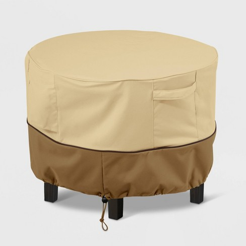 Veranda Round Patio Ottoman/Table Cover Light Beige XS - Classic Accessories - image 1 of 4