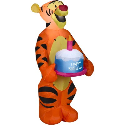 Gemmy Airblown Inflatable Birthday Party Tigger with Cake, 3.5 ft Tall, orange