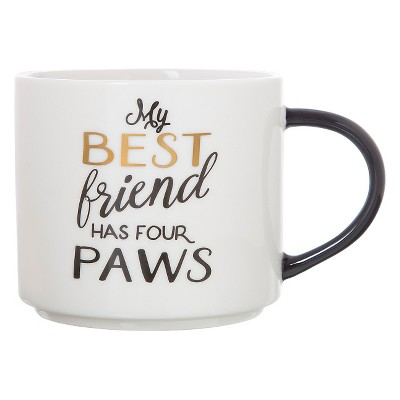 15oz Porcelain My Best Friend Has Four Paws Stackable Mug White/Black - Threshold™