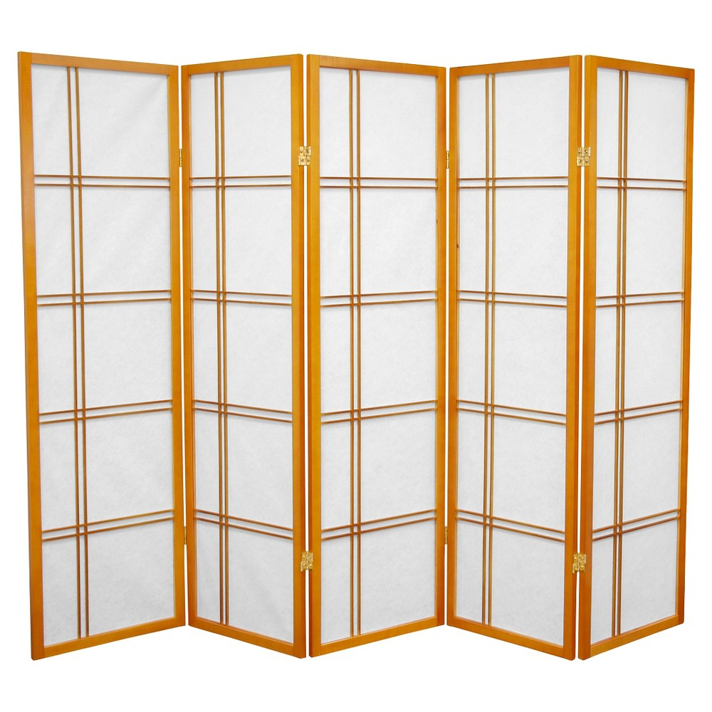 5 ft. Tall Double Cross Shoji Screen - Honey (5 Panels) - Oriental Furniture, Orange