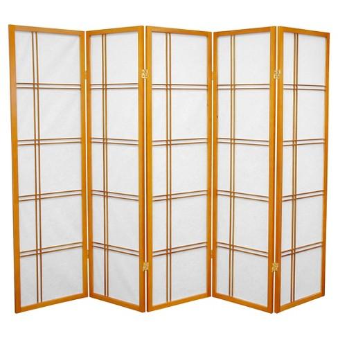 5 ft. Tall Double Cross Shoji Screen - Honey (5 Panels) - Oriental Furniture - image 1 of 3