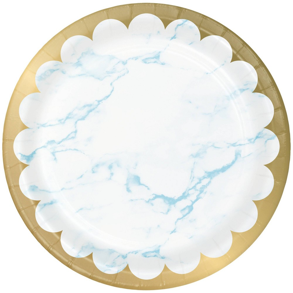 24ct Marble Disposable Dinnerware Plates Blue