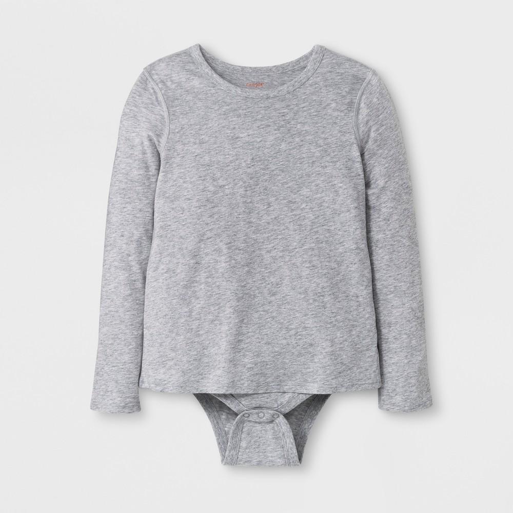 Girls' Adaptive Long Sleeve Bodysuit - Cat & Jack Heather Gray XL