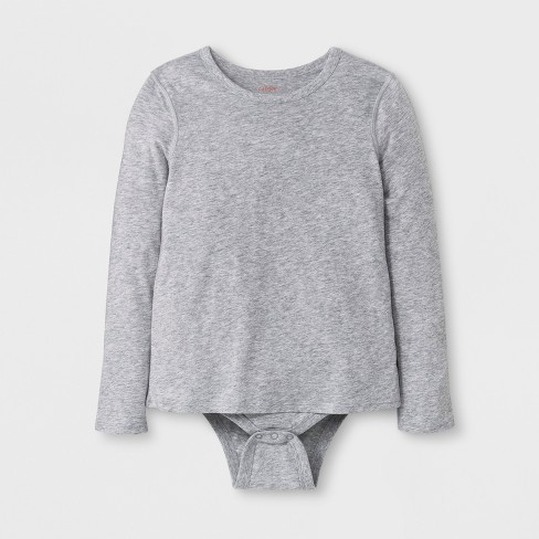 677a4ee05 Girls' Adaptive Long Sleeve Bodysuit - Cat & Jack™ Heather Gray : Target