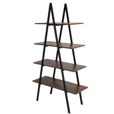 """65"""" 4 Tier Metal and Wooden Leaning Bookcases and Ladder Shelves - Glitzhome"""