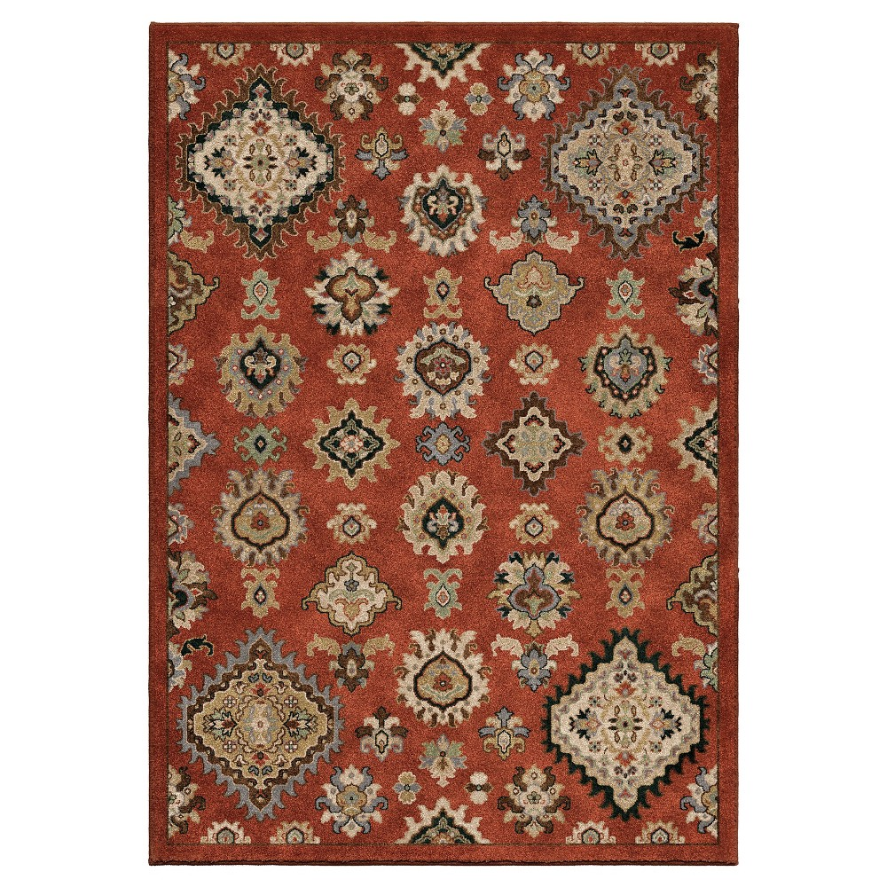 Burnt Red Abstract Woven Area Rug - (7'10