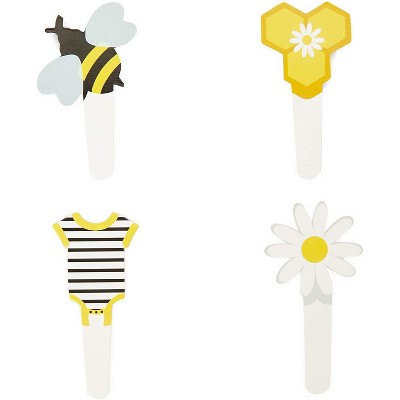 Sparkle and Bash 104-Piece Bee Cupcake Toppers Picks & Wrappers Liners, Gender Reveal Birthday Party Supplies