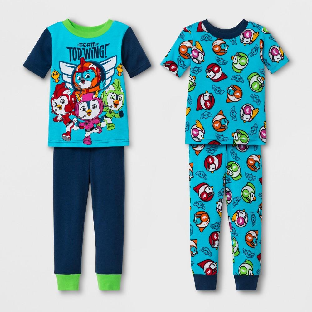 Toddler Boys' Top Wing 4pc Pajama Set - Blue 3T