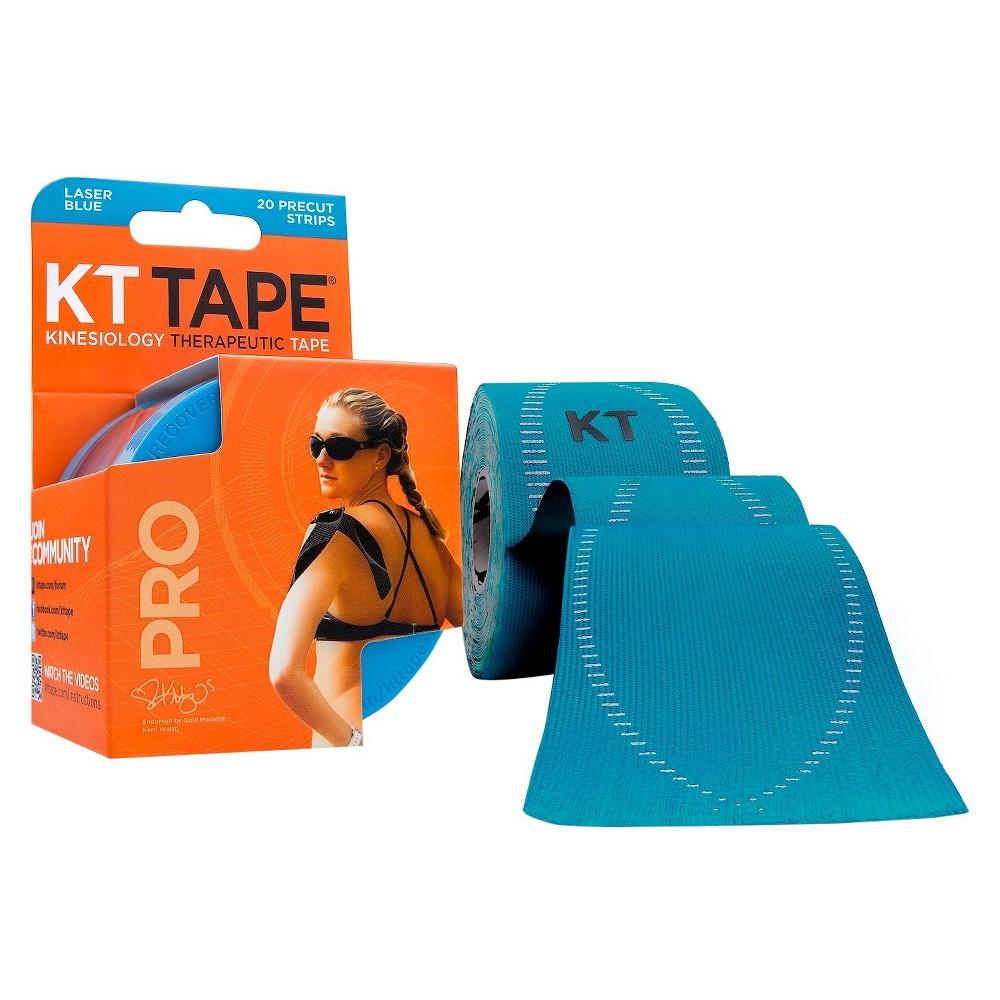 KT Tape Pro Black 20 Pre cut Strips - Laser Blue