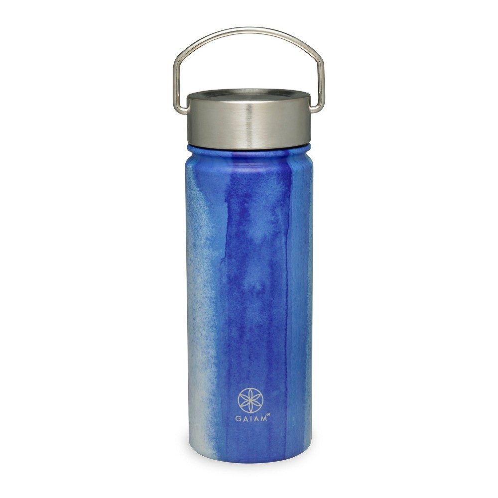 Gaiam 18oz Stainless Steel Wide Mouth Water Bottle - Waterfall Print, Blue
