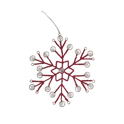 Gallerie II Red Tinsel Snowflake Christmas Xmas Ornament