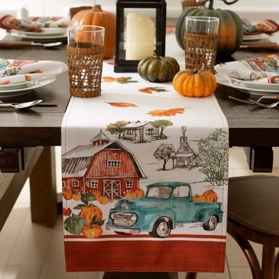 Farm Fresh Pumpkin Truck Fall Table Runner - Blue/Orange - 13x70 - Elrene Home Fashions