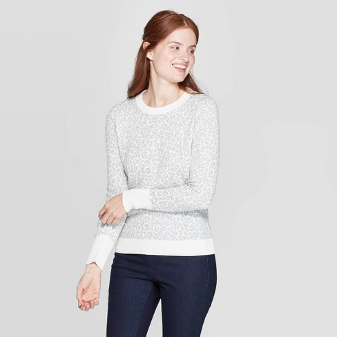Women's Leopard Print Long Sleeve Rib-Knit Cuff Crewneck Pullover Sweater - A New Day™ Heather Gray - image 1 of 3