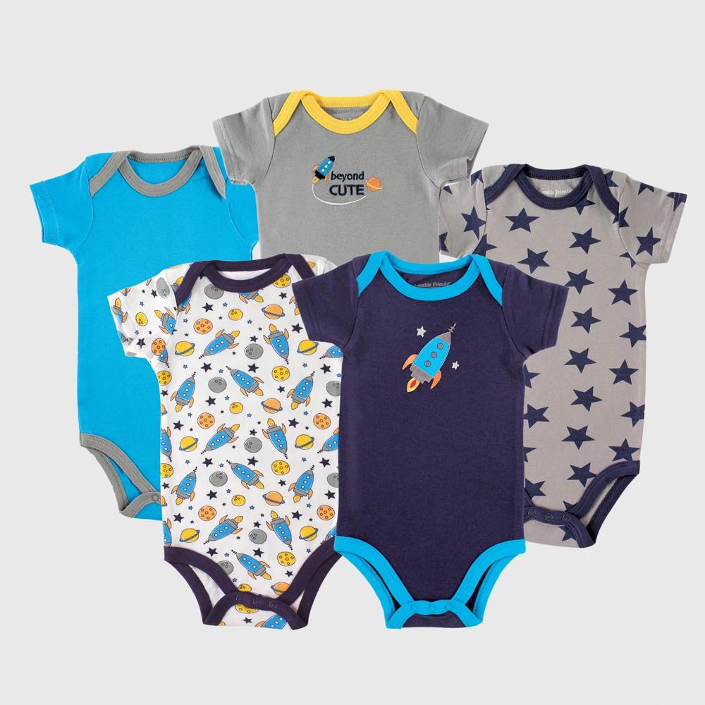 Luvable Friends Baby Boys' 5pk Bodysuits, Rocket - Blue 3-6M