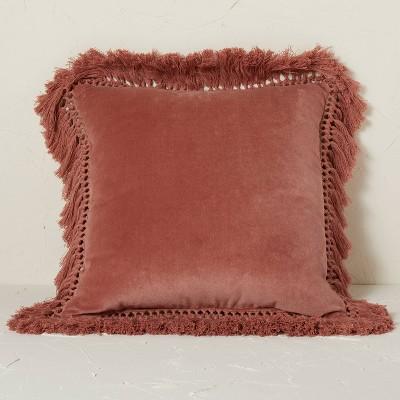 Square Velvet Fringe Decorative Throw Pillow Terracotta - Opalhouse™ designed with Jungalow™