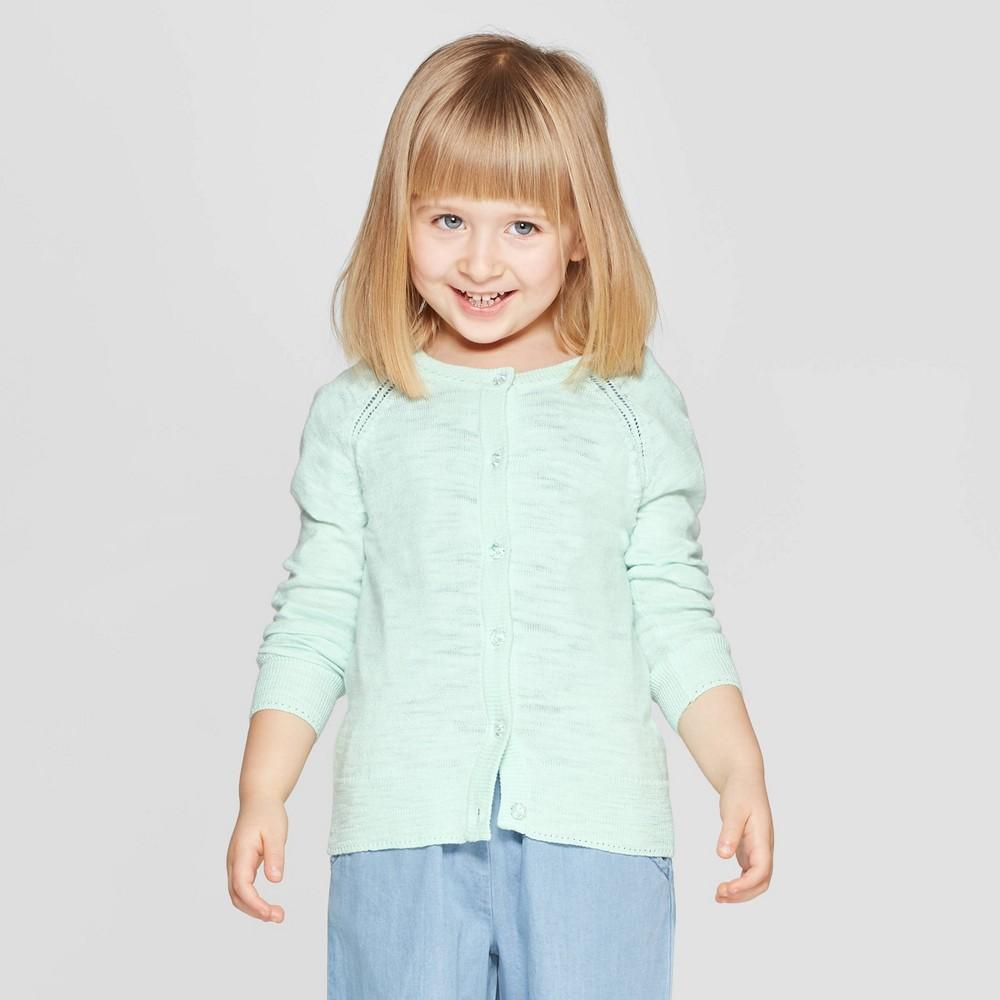 Toddler Girls' Long Sleeve Cardigan - Cat & Jack Green 2T