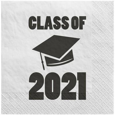 40ct Graduation 'Class of 2021' Disposable Lunch Napkins White - Spritz™