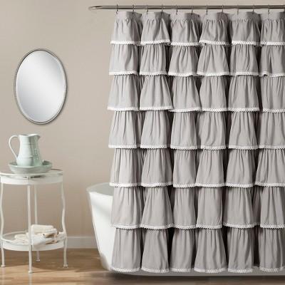 72 x72  Ruffle Shower Curtain Gray - Lush Decor®