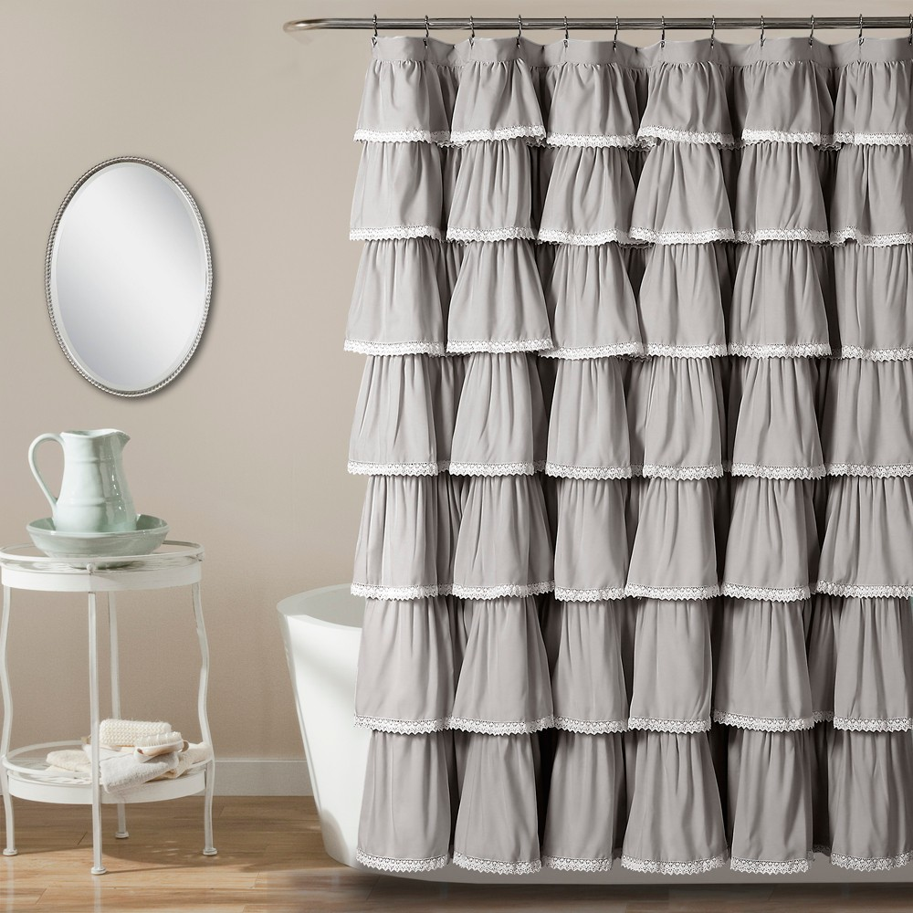 "Image of ""72""""x72"""" Ruffle Shower Curtain Gray - Lush Décor"""